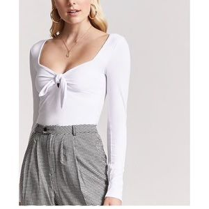 Forever 21 Tie Front White Top